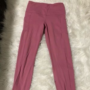 Pink 7/8th leggings with pockets!
